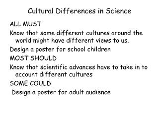 Cultural Differences in Science