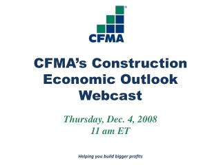 CFMA's Construction  Economic Outlook Webcast