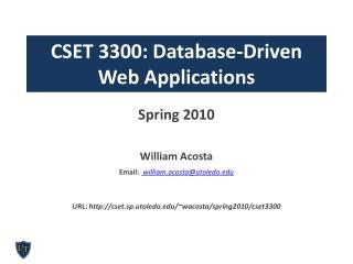 CSET 3300: Database-Driven  Web Applications