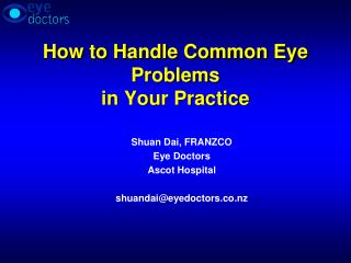 How to Handle Common Eye Problems in Your Practice