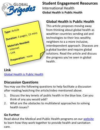 Student  Engagement Resources International Health Global Health is Public Health