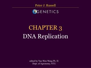 CHAPTER 3 DNA Replication