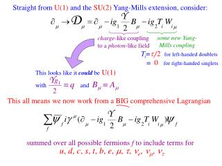 Straight from  U(1)  and the  SU(2)  Yang-Mills extension, consider: