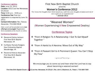 First New Birth Baptist Church presents Women's Conference 2012