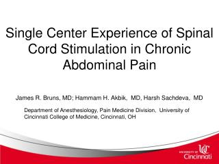 Single Center Experience of Spinal Cord Stimulation in Chronic Abdominal Pain