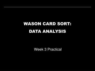 WASON CARD SORT: DATA ANALYSIS
