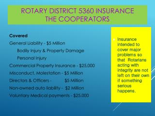 Rotary District 5360  Insurance The Cooperators