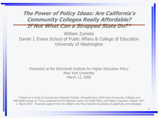 The Power of Policy Ideas: Are California's Community Colleges Really Affordable?