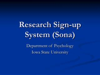 Research Sign-up System Sona