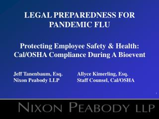 LEGAL PREPAREDNESS FOR PANDEMIC FLU