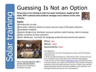 Solar training