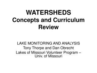 WATERSHEDS  Concepts and Curriculum Review
