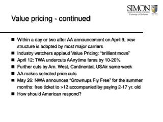 Value pricing - continued