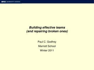 Building effective teams (and repairing broken ones)