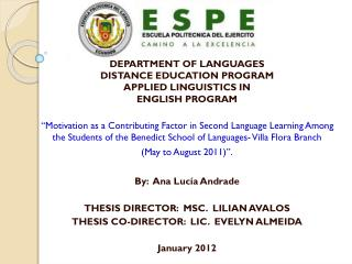 DEPARTMENT OF LANGUAGES DISTANCE EDUCATION PROGRAM  APPLIED LINGUISTICS IN  ENGLISH PROGRAM