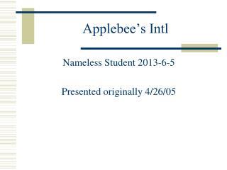 Applebee's Intl