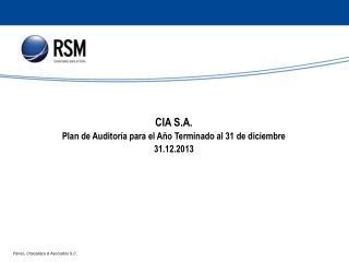 CIA S.A. Plan de Auditoría para el Año Terminado al 31 de diciembre 31.12.2013