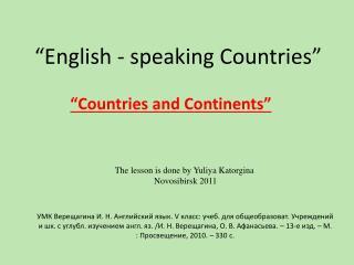 """""""English - speaking Countries"""""""
