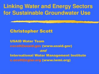 Linking Water and Energy Sectors for Sustainable Groundwater Use