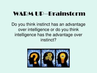 WARM UP--Brainstorm