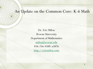 An Update on the Common Core: K-6 Math