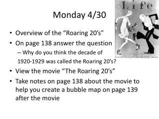 Monday 4/30