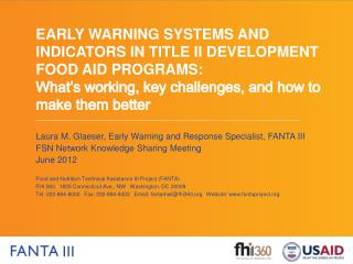 Laura M.  Glaeser , Early Warning and Response Specialist, FANTA III