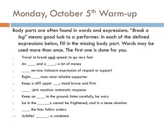 Monday, October 5 th  Warm-up