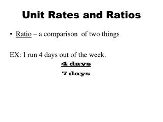 Unit Rates and Ratios