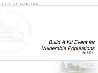 Build A Kit Event for Vulnerable Populations