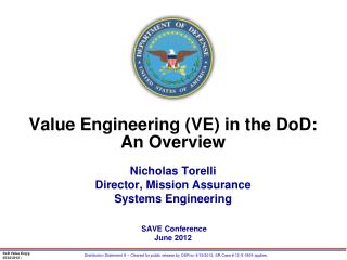 Value Engineering (VE)  in  the  DoD: An Overview