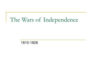 The Wars of Independence
