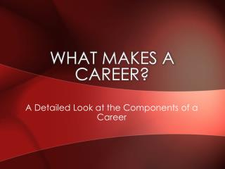 What Makes A Career?
