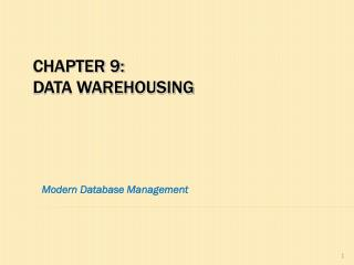 Chapter 9: data warehousing