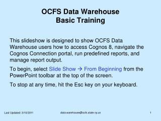 OCFS Data Warehouse Basic Training