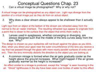 Conceptual Questions Chap. 23