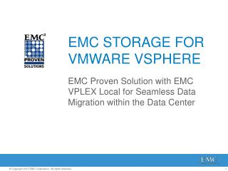 EMC STORAGE FOR VMWARE VSPHERE