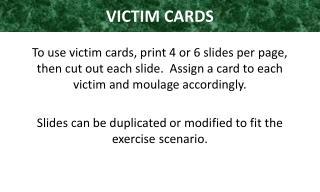VICTIM  CARDS