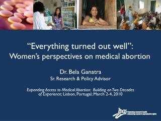 """Everything turned out well"":  Women's perspectives on medical abortion"