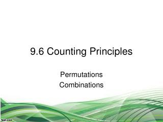 9.6 Counting Principles