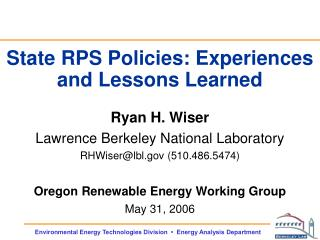 State RPS Policies: Experiences and Lessons Learned
