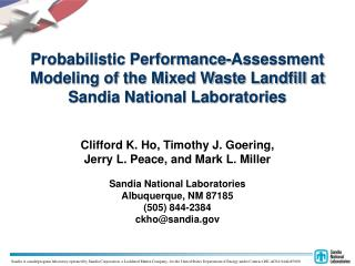 Probabilistic Performance-Assessment Modeling of the Mixed Waste Landfill at Sandia National Laboratories