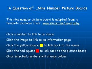 A Question of   Nine Number Picture Boards  This nine number picture board is adapted from  a template available from