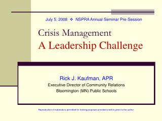 Crisis Management A Leadership Challenge