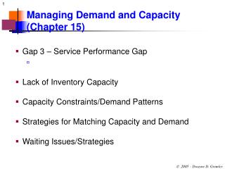 Managing Demand and Capacity (Chapter 15)
