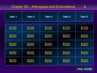 Chapter 28 – Arthropods and Echinoderms         A