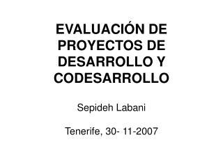 EVALUACIÓN DE PROYECTOS DE DESARROLLO Y CODESARROLLO