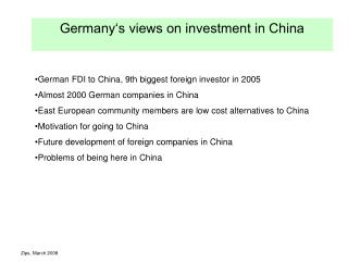 Germany�s views on investment in China
