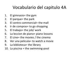 Vocabulario del capitulo 4A