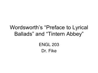 Wordsworth s  Preface to Lyrical Ballads  and  Tintern Abbey